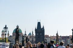 Prague, Czech Republic - September 10, 2019: Charles bridge crowded with tourists during the day royalty free stock images