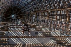 Prague, Czech Republic - September 10, 2019: DOX, Prague Gallery of contemporary art, interior of Guliver airship stock photography