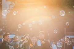 Holiday soap bubbles in the street in Old Town Square in Prague, Czech Republic Stock Images
