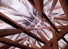 PRAGUE, CZECH REPUBLIC - SEPTEMBER 4, 2017. Interior roof wooden structure of the Charles bridge tower, Prague, Czech Republic. Interior roof wooden structure of Stock Images