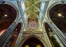 PRAGUE, CZECH REPUBLIC - SEPTEMBER 4, 2017. Interior of the St. Vitus cathedral in Prague Castle, Prague, Czech Republic. Interior of the St. Vitus cathedral in Stock Photography
