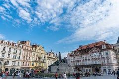 Prague, Czech Republic - September 10, 2019: Jan Hus memorial  on the Oldtown Squar, Prague, Czech Republic stock photos