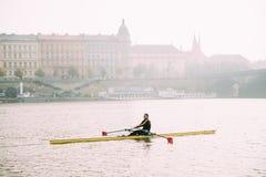 Prague, Czech Republic. Man Training On Kayak In Vltava River Stock Images