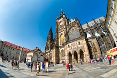 PRAGUE, CZECH REPUBLIC - SEPTEMBER 07, 2016: People at St Vitus Royalty Free Stock Photos