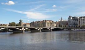 PRAGUE, CZECH REPUBLIC-SEPTEMBER 05, 2015: Photo of Jirásek bridge and embankment Masaryk. Stock Photo