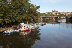 PRAGUE, CZECH REPUBLIC-SEPTEMBER 05, 2015: Photo of Morning at the Slavic island. Prague, Czech Republic - September 5, 2015: Ships and boats moored to the Stock Photos