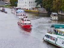 PRAGUE, CZECH REPUBLIC - SEPTEMBER 6, 2017. River boat cruise to Charles bridge and Vltava, Prague, Czech Republic. River boat cruise to Charles bridge and Stock Images