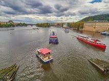 PRAGUE, CZECH REPUBLIC - SEPTEMBER 6, 2017. River boat cruise to Charles bridge and Vltava, Prague, Czech Republic. River boat cruise to Charles bridge and Stock Image