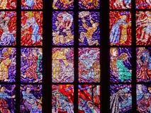 PRAGUE, CZECH REPUBLIC - SEPTEMBER 4, 2017. St. Vitus Cathedral stained glass windows, Prague, Czech Republic. St. Vitus Cathedral stained glass windows, Prague Stock Images