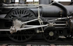 Prague, Czech Republic - September 23, 2017: Steam locomotive in national technical museum in Prague, Czech Republic. Wheels close royalty free stock image