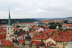 Prague, Czech Republic, September 25, 2014. Top view of the city from the Town belfry by St. Nichola's Church, Mala Strana Royalty Free Stock Photo