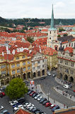 Prague, Czech Republic, September 25, 2014. Top view of the city from the Town belfry by St. Nichola's Church, Mala Strana square Royalty Free Stock Images