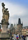 PRAGUE, CZECH REPUBLIC - SEPTEMBER 15, 2014: tourists walk on Charles Bridge, Prague, the Czech Republic Royalty Free Stock Photography