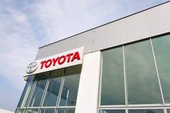 Toyota motor corporation logo on dealership building Stock Image