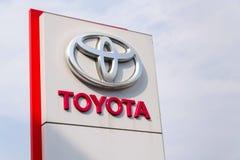 Toyota motor corporation logo on dealership building Royalty Free Stock Photography
