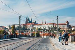 Traffic jam on the street in Prague, Czech Republic Royalty Free Stock Photo