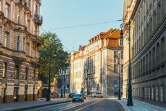 Traffic jam on the street in Prague, Czech Republic Royalty Free Stock Images