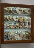 PRAGUE, CZECH REPUBLIC. A show-window with souvenir models of the Prague astronomical clock (chiming clock) Royalty Free Stock Image