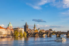 Prague, Czech Republic skyline with historic Charles Bridge and Vltava river Royalty Free Stock Photo
