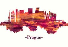 Prague Czech Republic skyline in red royalty free illustration