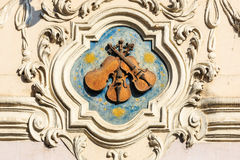 Prague, Czech Republic. Three Little Violins.  Sign at the house in Mala Strana in Prague, Czech Republic Royalty Free Stock Images