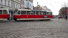 Prague, Czech Republic. Trams in the streets of city center. Prague, Czech Republic. Trams in the streets of the old city center stock footage
