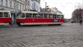 Prague, Czech Republic. Trams in the streets of city center. Prague, Czech Republic. Trams in the streets of the old city center stock footage