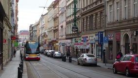 Prague, Czech Republic. Trams in the streets of city center. Prague, Czech Republic. Trams in the streets of the old city center stock video footage