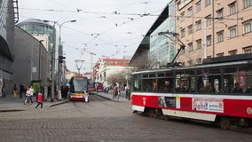 Prague, Czech Republic. Trams in the streets of city center. Prague, Czech Republic. Trams in the streets of the old city center. Morning time stock video footage