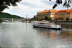 Prague, Czech Republic with turist boat and Vltava river Royalty Free Stock Images