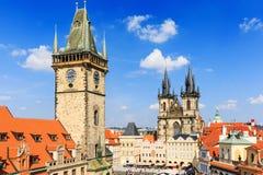 Prague, Czech Republic. Prague Tyn Cathedral and Clock Tower, Czech Republic Stock Photos