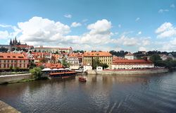 Prague, Czech Republic, view of Prague Castle, Vltava river from the Charles Bridge royalty free stock photos