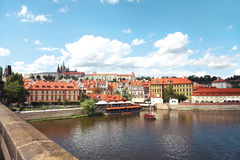Prague, Czech Republic, view of Prague Castle and vltava river the Charles Bridge Stock Photography