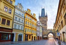 Prague, Czech Republic View at medieval tower stock photos