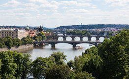 Prague Czech Republic and Vitava River Stock Photo