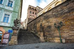 24.01.2018 Prague, Czech Republic - Walking through the streets. Of the old town Prague Stock Image