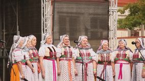 Prague, Czech Republic. Women Group In National Clothes Performing Folk Songs During Popular In Prague Folk Folklore. Prague, Czech Republic - September 23, 2017 stock footage