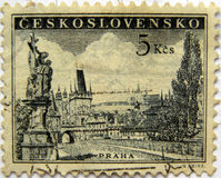 Prague Czecholovakian stamp. Czechoslovakia mail postage stamp bearing Pragues cityscape royalty free stock photography