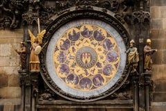 PRAGUE, CZECHIA - OCTOBER 18, 2017: Prague astronomical clock. The Prague astronomical clock is a medieval astronomical clock loca. Ted in Prague, the capital of Stock Photos