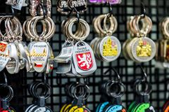 PRAGUE, CZECHIA - 10TH APRIL 2019: Traditional Czech Keyring souvenirs for sale in a tourist shop in Prague stock photo