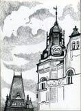 Prague de dessin noir et blanc avec les bâtiments antiques Photographie stock