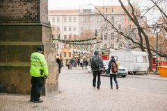 Prague, December 24, 2016: the presence of the police at Christmas. The police patrol the streets of the city Royalty Free Stock Photos