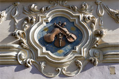 Prague - detail form baroque house. Facade royalty free stock images