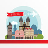 Prague detailed silhouette. Trendy stylish colorful landmarks. Stock Images
