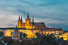 Prague durin beautiful sunset with castle, Hradcany, Czech Republic. View of historical center of Prague durin beautiful sunset with castle, Hradcany, Czech stock photo
