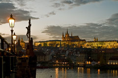 Prague at dusk Stock Image