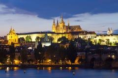 Prague at dusk Stock Photos