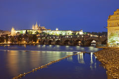 Prague at dusk Stock Images