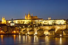 Prague at dusk Stock Photography