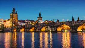 Prague at dusk; Czech Republic Stock Photography